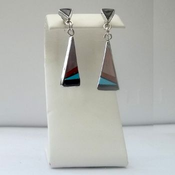 Traditional Zuni Earrings with Pink Shell